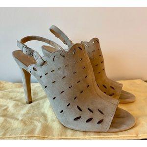 Via Spiga taupe suede open toe heels